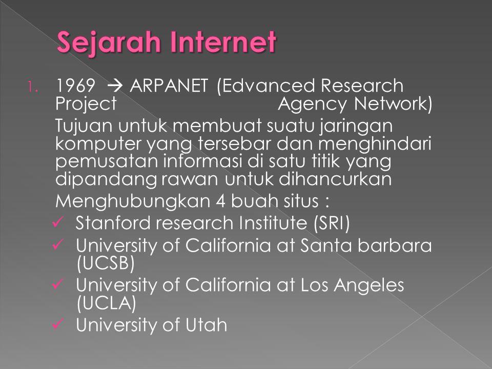 1. 1969  ARPANET (Edvanced Research Project Agency Network) Tujuan untuk membuat suatu jaringan komputer yang tersebar dan menghindari pemusatan info