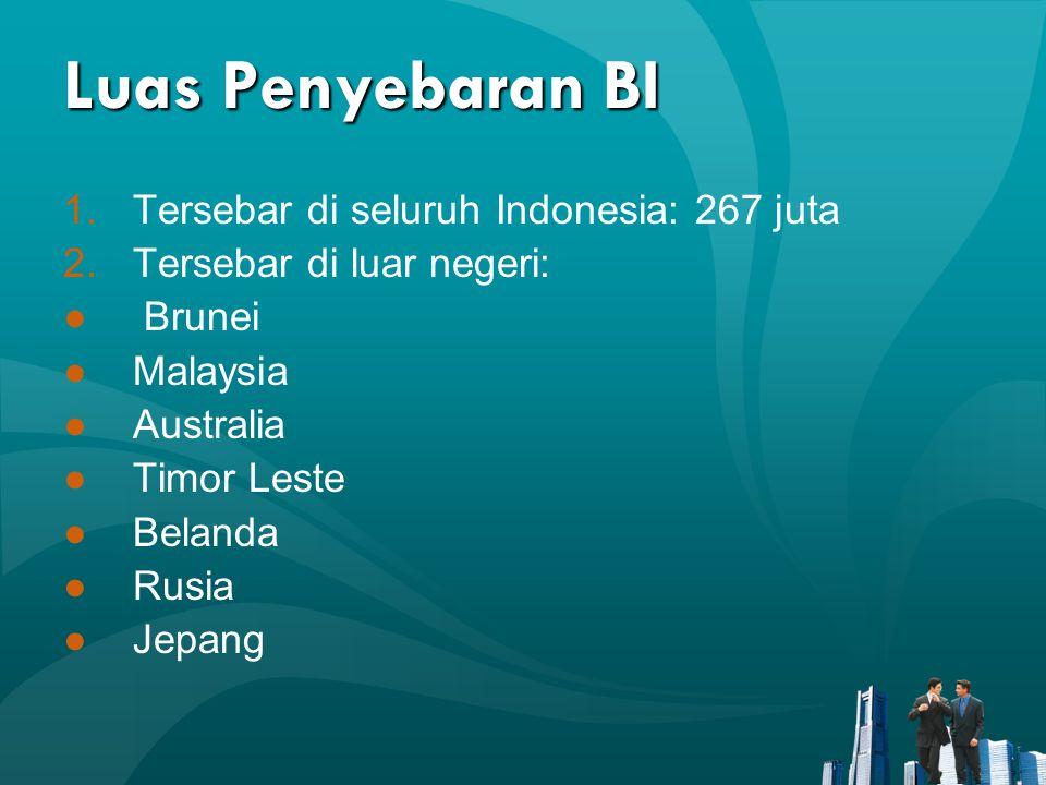 Luas Penyebaran BI 1.Tersebar di seluruh Indonesia: 267 juta 2.Tersebar di luar negeri: ● Brunei ●Malaysia ●Australia ●Timor Leste ●Belanda ●Rusia ●Je