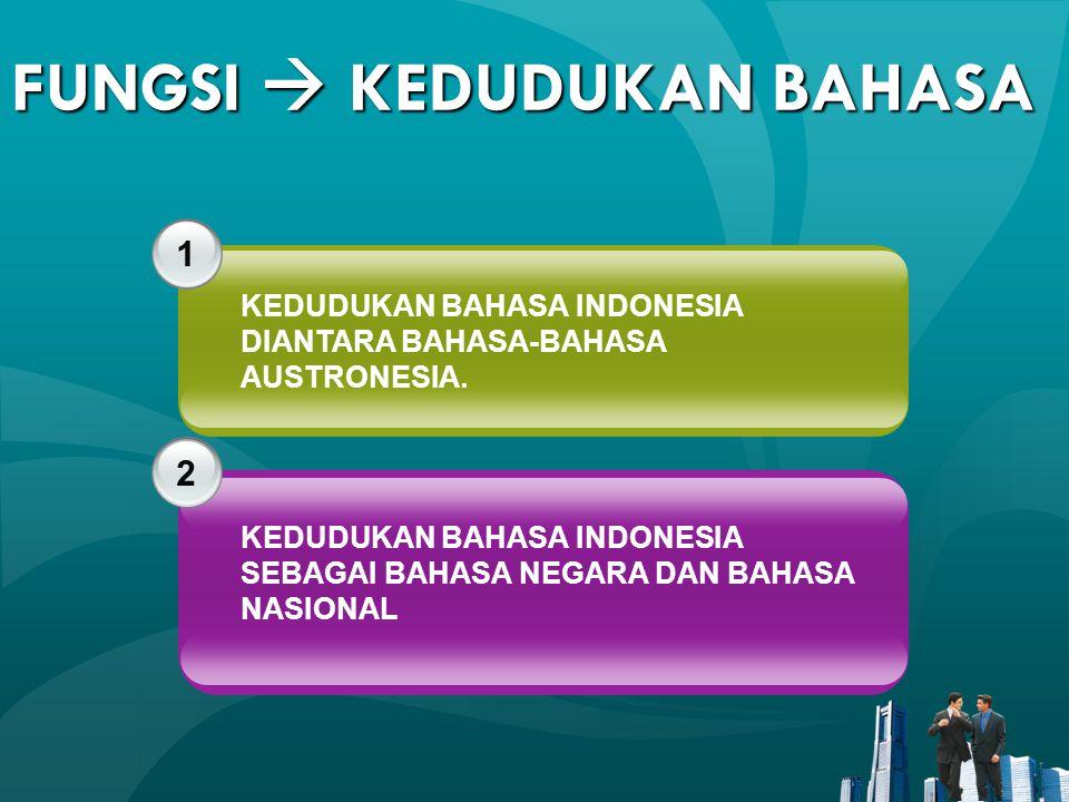 FUNGSI  KEDUDUKAN BAHASA 1 2 KEDUDUKAN BAHASA INDONESIA DIANTARA BAHASA-BAHASA AUSTRONESIA. KEDUDUKAN BAHASA INDONESIA SEBAGAI BAHASA NEGARA DAN BAHA
