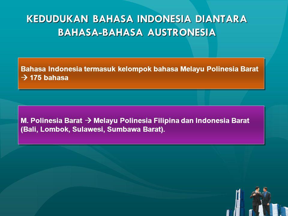 KEDUDUKAN BAHASA INDONESIA DIANTARA BAHASA-BAHASA AUSTRONESIA Bahasa Indonesia termasuk kelompok bahasa Melayu Polinesia Barat  175 bahasa Bahasa Ind