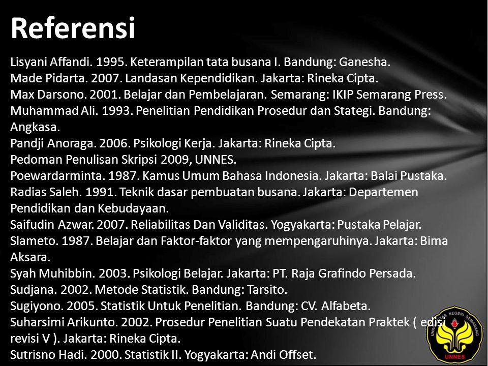 Referensi Lisyani Affandi. 1995. Keterampilan tata busana I. Bandung: Ganesha. Made Pidarta. 2007. Landasan Kependidikan. Jakarta: Rineka Cipta. Max D