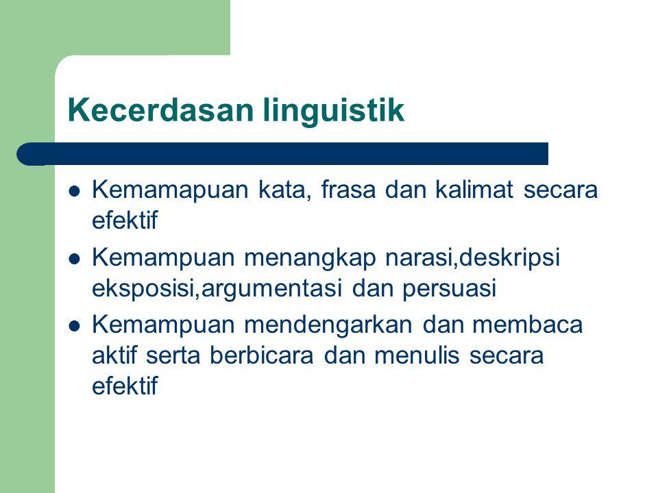 Kecerdasan linguistik Kemamapuan kata, frasa dan kalimat secara efektif Kemampuan menangkap narasi,deskripsi eksposisi,argumentasi dan persuasi Kemampuan mendengarkan dan membaca aktif serta berbicara dan menulis secara efektif