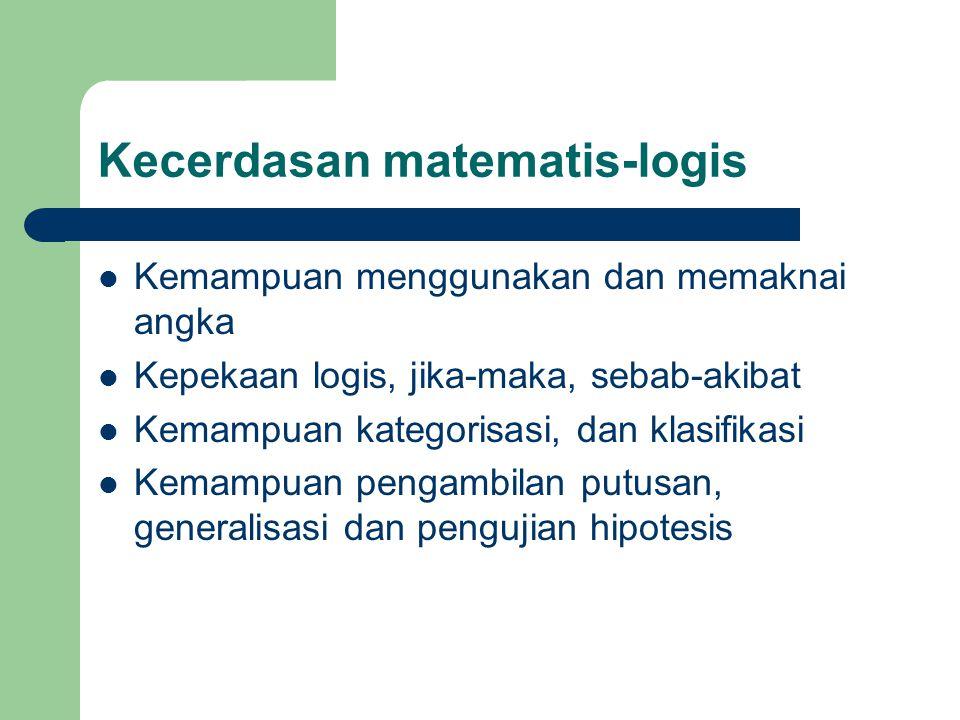 Kecerdasan matematis-logis Kemampuan menggunakan dan memaknai angka Kepekaan logis, jika-maka, sebab-akibat Kemampuan kategorisasi, dan klasifikasi Kemampuan pengambilan putusan, generalisasi dan pengujian hipotesis