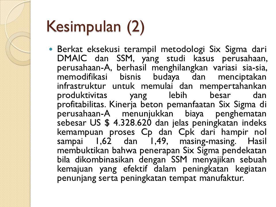 Kesimpulan (2) Berkat eksekusi terampil metodologi Six Sigma dari DMAIC dan SSM, yang studi kasus perusahaan, perusahaan-A, berhasil menghilangkan var