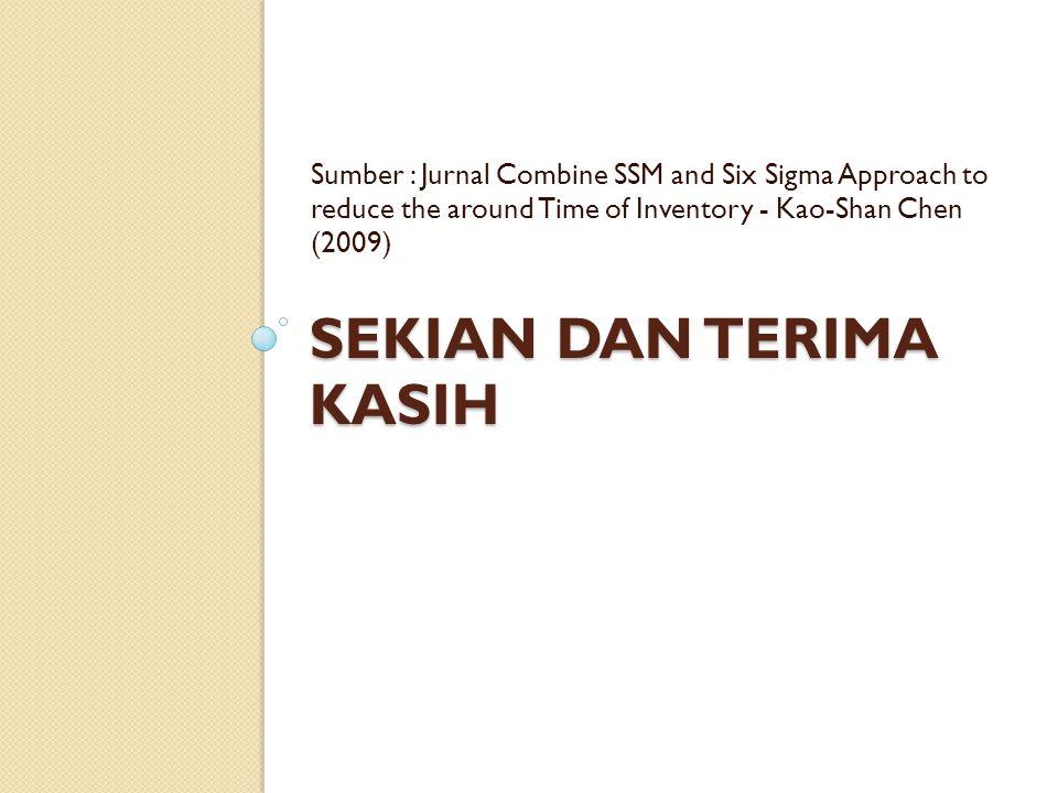 SEKIAN DAN TERIMA KASIH Sumber : Jurnal Combine SSM and Six Sigma Approach to reduce the around Time of Inventory - Kao-Shan Chen (2009)
