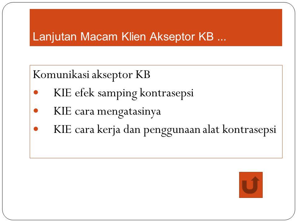 Lanjutan Macam Klien Akseptor KB... Komunikasi akseptor KB KIE efek samping kontrasepsi KIE cara mengatasinya KIE cara kerja dan penggunaan alat kontr
