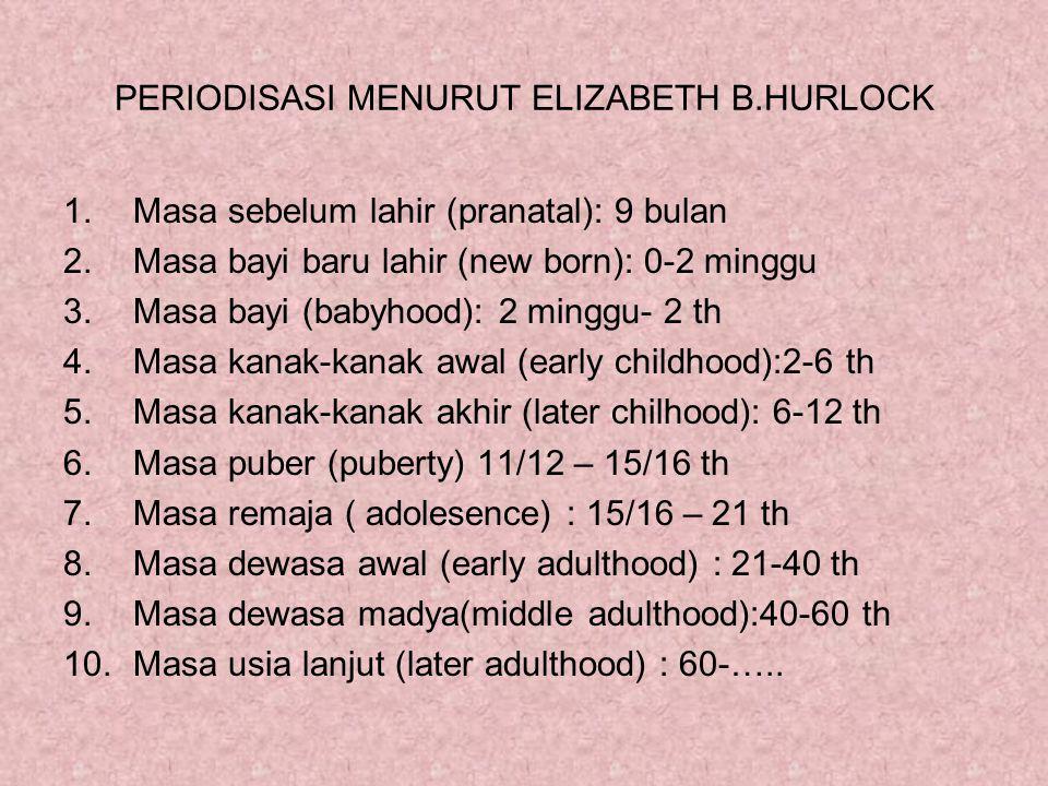 PERIODISASI MENURUT ELIZABETH B.HURLOCK 1.Masa sebelum lahir (pranatal): 9 bulan 2.Masa bayi baru lahir (new born): 0-2 minggu 3.Masa bayi (babyhood):