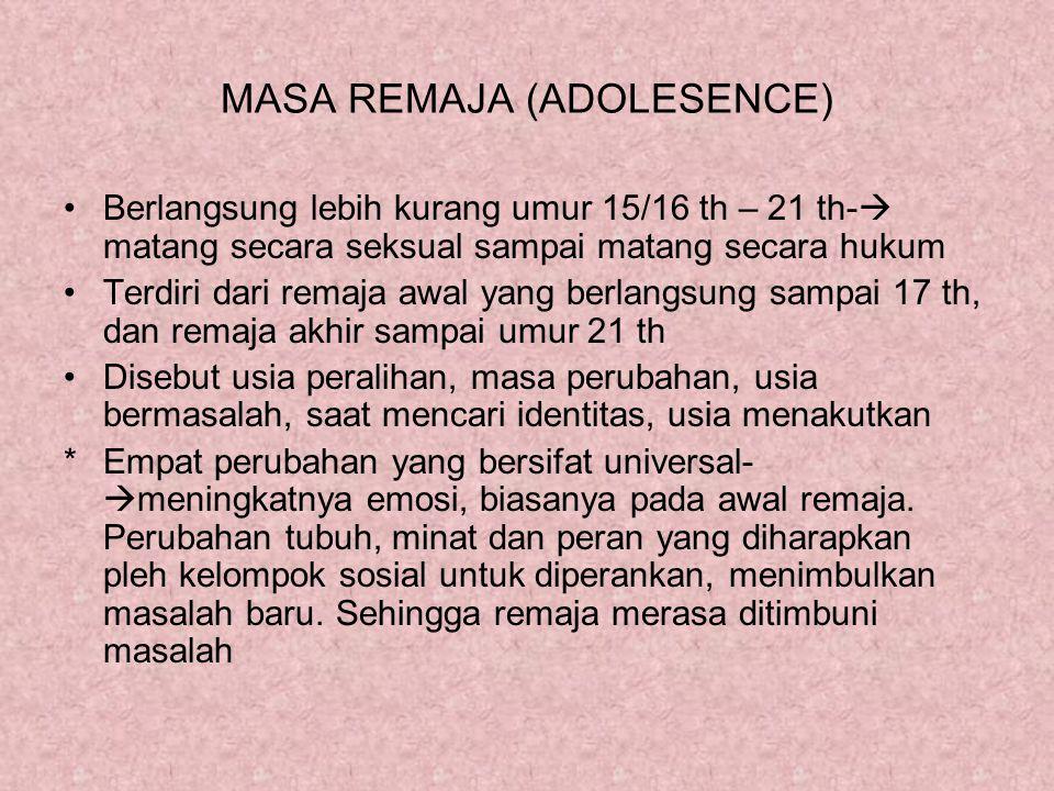 MASA REMAJA (ADOLESENCE) Berlangsung lebih kurang umur 15/16 th – 21 th-  matang secara seksual sampai matang secara hukum Terdiri dari remaja awal y