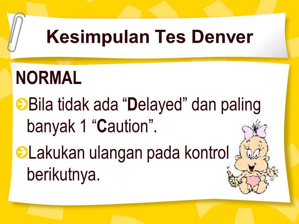 """Kesimpulan Tes Denver NORMAL Bila tidak ada """" D elayed"""" dan paling banyak 1 """" C aution"""". Lakukan ulangan pada kontrol berikutnya."""