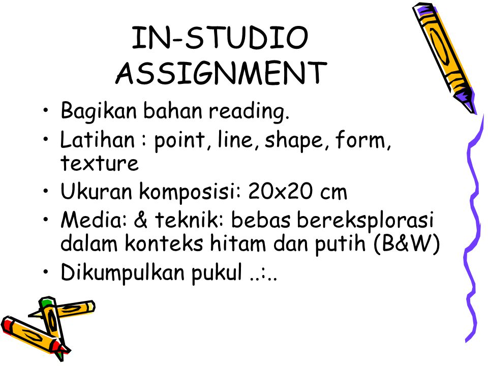 IN-STUDIO ASSIGNMENT Bagikan bahan reading.