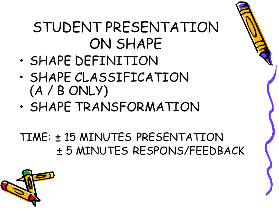 STUDENT PRESENTATION ON SHAPE SHAPE DEFINITION SHAPE CLASSIFICATION (A / B ONLY) SHAPE TRANSFORMATION TIME: ± 15 MINUTES PRESENTATION ± 5 MINUTES RESPONS/FEEDBACK