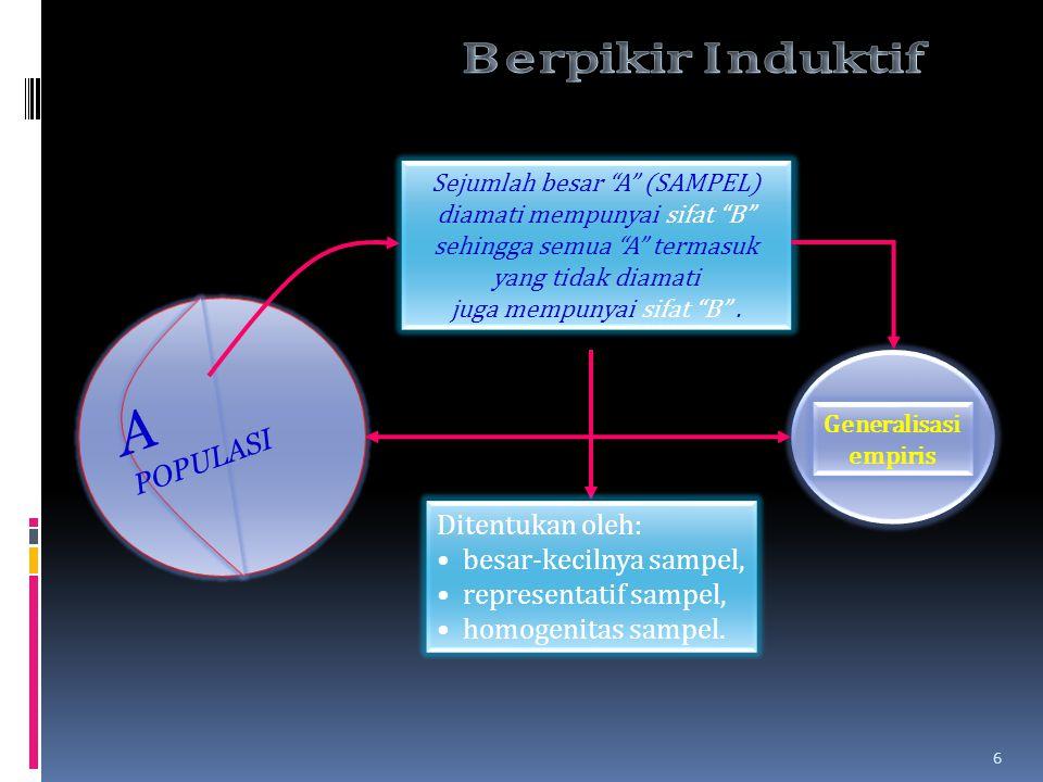 Sejumlah besar A (SAMPEL) diamati mempunyai sifat B sehingga semua A termasuk yang tidak diamati juga mempunyai sifat B .