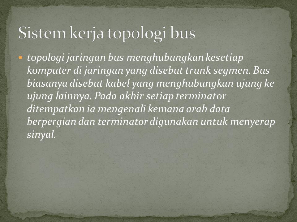 topologi jaringan bus menghubungkan kesetiap komputer di jaringan yang disebut trunk segmen. Bus biasanya disebut kabel yang menghubungkan ujung ke uj