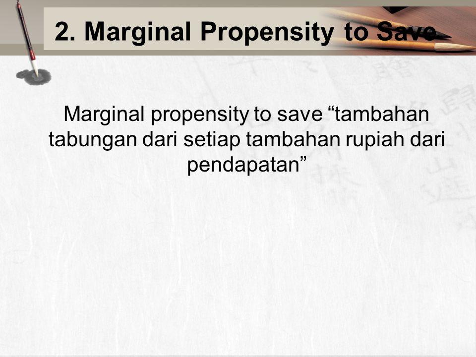 """2. Marginal Propensity to Save Marginal propensity to save """"tambahan tabungan dari setiap tambahan rupiah dari pendapatan"""""""