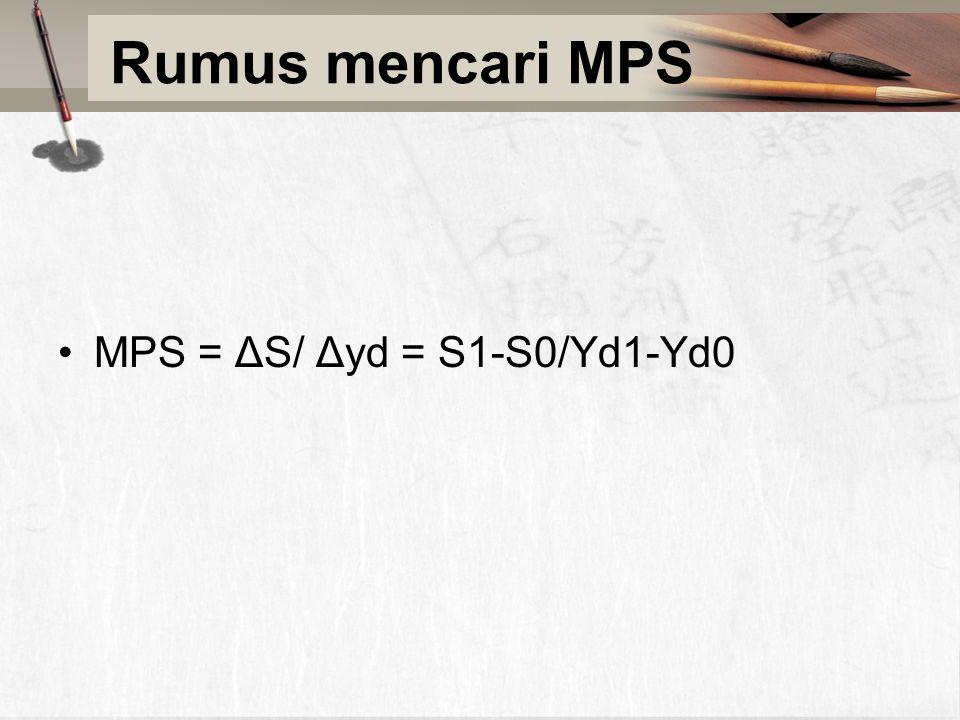 Rumus mencari MPS MPS = ΔS/ Δyd = S1-S0/Yd1-Yd0