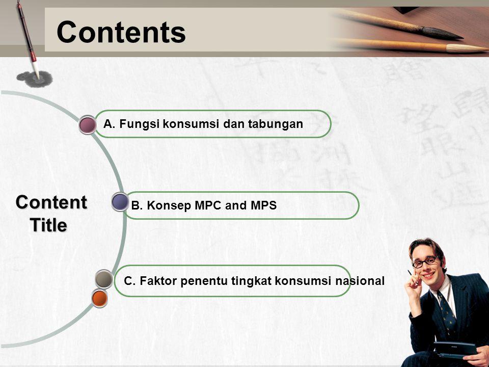 Contents C. Faktor penentu tingkat konsumsi nasional B. Konsep MPC and MPS A. Fungsi konsumsi dan tabungan Content Title Content Title
