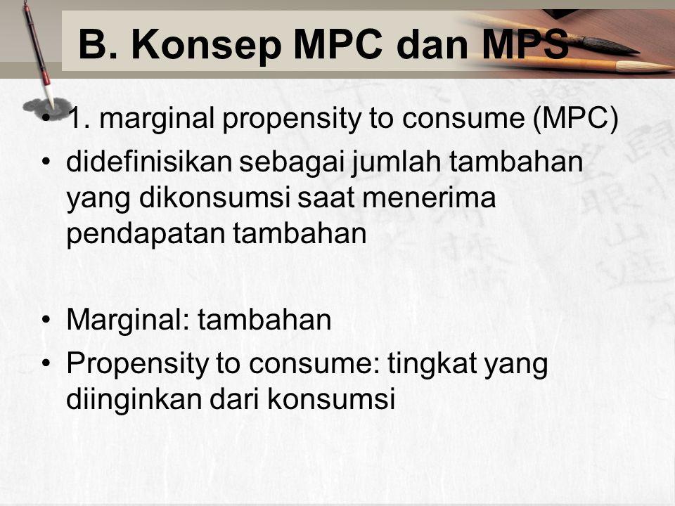 B. Konsep MPC dan MPS 1. marginal propensity to consume (MPC) didefinisikan sebagai jumlah tambahan yang dikonsumsi saat menerima pendapatan tambahan