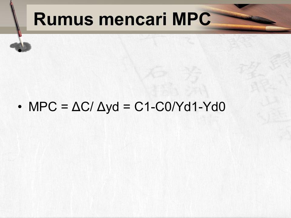 Rumus mencari MPC MPC = ΔC/ Δyd = C1-C0/Yd1-Yd0