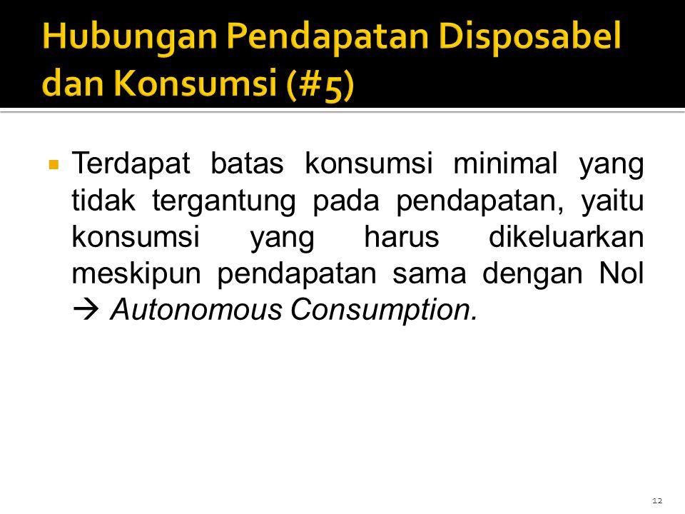  Terdapat batas konsumsi minimal yang tidak tergantung pada pendapatan, yaitu konsumsi yang harus dikeluarkan meskipun pendapatan sama dengan Nol  A