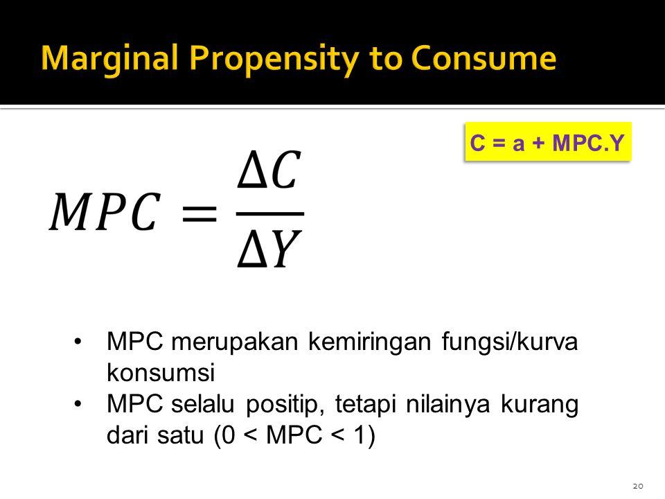 C = a + MPC.Y 20 MPC merupakan kemiringan fungsi/kurva konsumsi MPC selalu positip, tetapi nilainya kurang dari satu (0 < MPC < 1)