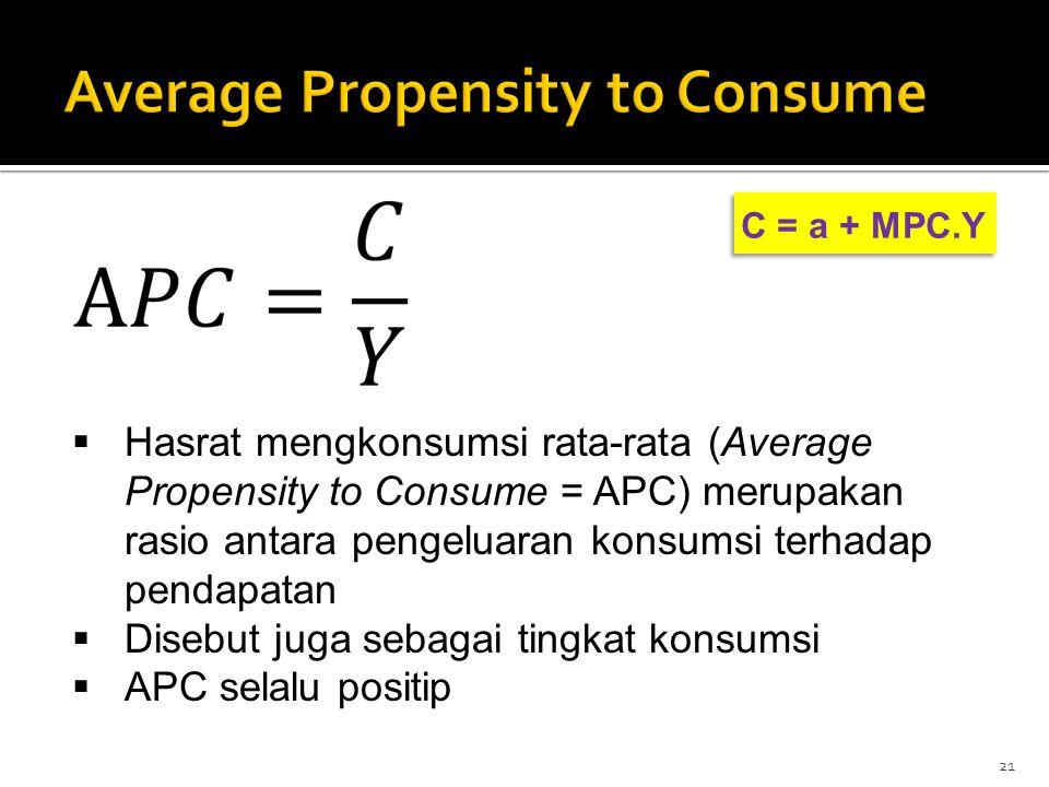 C = a + MPC.Y 21  Hasrat mengkonsumsi rata-rata (Average Propensity to Consume = APC) merupakan rasio antara pengeluaran konsumsi terhadap pendapatan