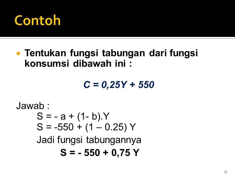  Tentukan fungsi tabungan dari fungsi konsumsi dibawah ini : C = 0,25Y + 550 Jawab : S = - a + (1- b).Y S = -550 + (1 – 0.25) Y Jadi fungsi tabungann