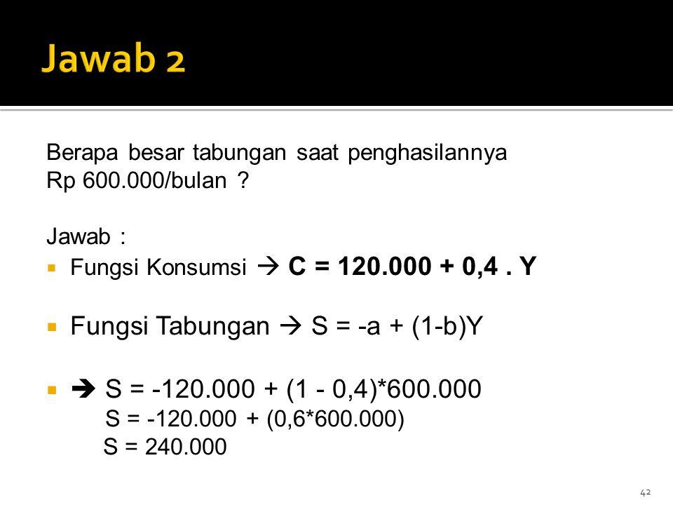 Berapa besar tabungan saat penghasilannya Rp 600.000/bulan ? Jawab :  Fungsi Konsumsi  C = 120.000 + 0,4. Y  Fungsi Tabungan  S = -a + (1-b)Y  
