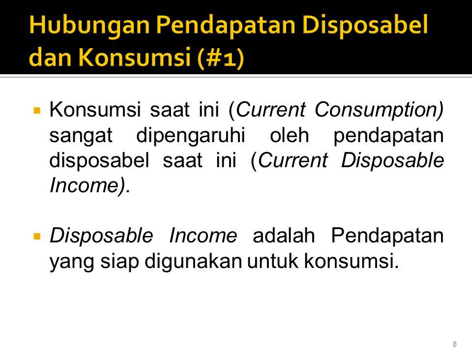  Konsumsi saat ini (Current Consumption) sangat dipengaruhi oleh pendapatan disposabel saat ini (Current Disposable Income).  Disposable Income adal