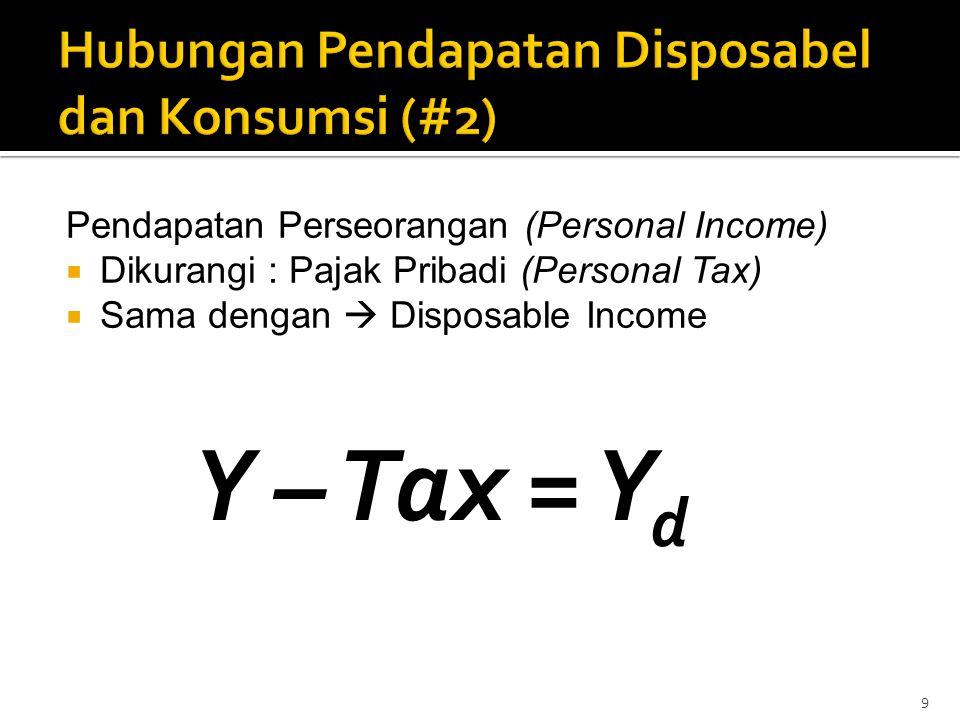 Pendapatan Perseorangan (Personal Income)  Dikurangi : Pajak Pribadi (Personal Tax)  Sama dengan  Disposable Income 9 Y – Tax = Y d