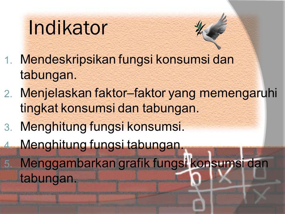 Indikator 1.Mendeskripsikan fungsi konsumsi dan tabungan.