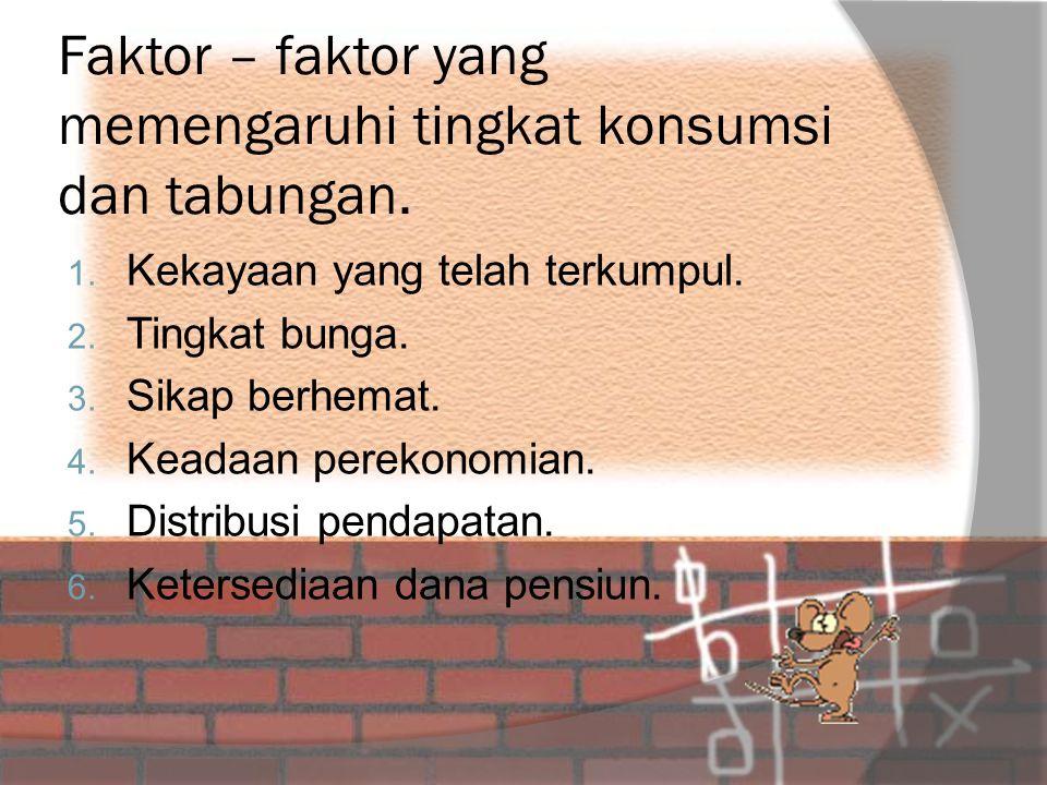 Faktor – faktor yang memengaruhi tingkat konsumsi dan tabungan.
