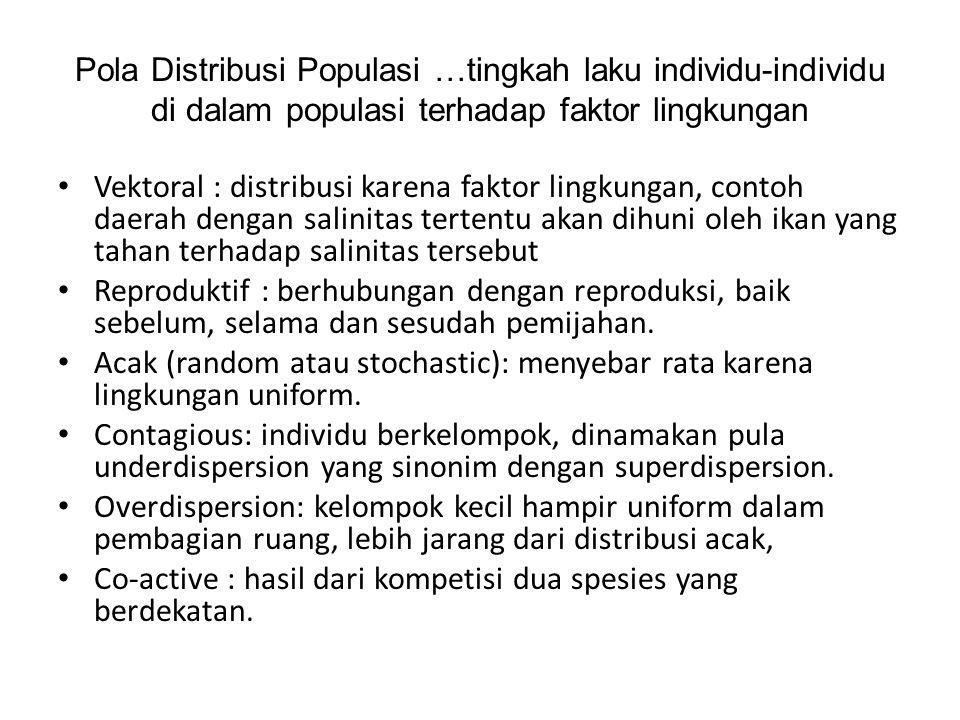 Pola Distribusi Populasi …tingkah laku individu-individu di dalam populasi terhadap faktor lingkungan Vektoral : distribusi karena faktor lingkungan,