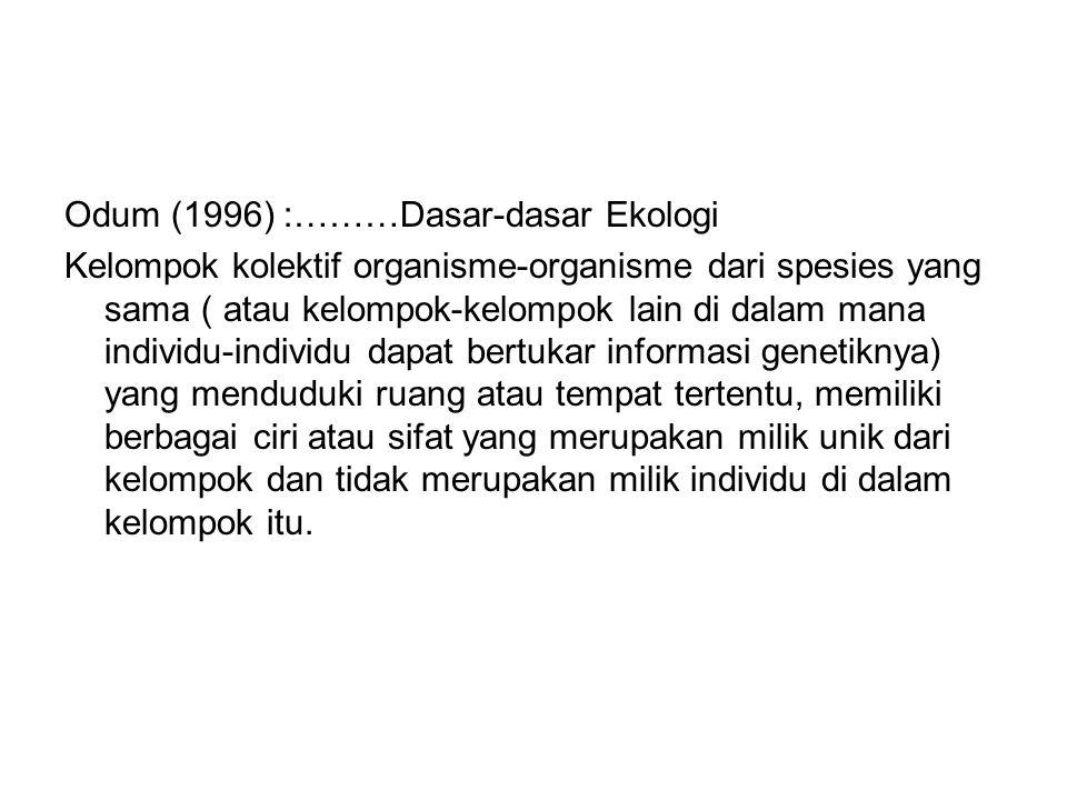 Odum (1996) :………Dasar-dasar Ekologi Kelompok kolektif organisme-organisme dari spesies yang sama ( atau kelompok-kelompok lain di dalam mana individu-