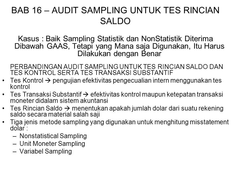 BAB 16 – AUDIT SAMPLING UNTUK TES RINCIAN SALDO NONSTATISTICAL SAMPLING 14 langkah dalam audit sampling untuk tes rincian saldo (tes kontrol dan tes transaksi substantif) 1.Menyatakan Sasaran Hasil dari Tes Audit Menentukan kewajaran saldo rekening yang sedang diaudit 2.Memutuskan apakah Audit Sampling diterapkan Diterapkan ketika auditor merencanakan untuk menjangkau kesimpulan tentang populasi berdasarkan sampel (Bab 14) 3.Menggambarkan Kondisi Misstatement Mengukur misstatement moneter didalam populasi 4.Menggambarkan Populasi Populasi yang direkam (apakah terlalu dibesarkan/dikecilkan) Untuk banyak populasi  membagi populasi menjadi dua atau lebih sub populasi sebelum audit sampling diterapkan (sampling stratifikasi) Tujuan stratifikasi  memungkinkan auditor untuk menekan materi populasi tertentu dan mengabaikan yang lain 5.Mendefinisikan Unit Sampling 1.Item yang disusun dan memperbaiki saldo rekening 2.Faktur individual yang merupakan bagian dari saldo rekening 6.Menetapkan Misstatement yang Dapat Ditolerir (Bab 9)