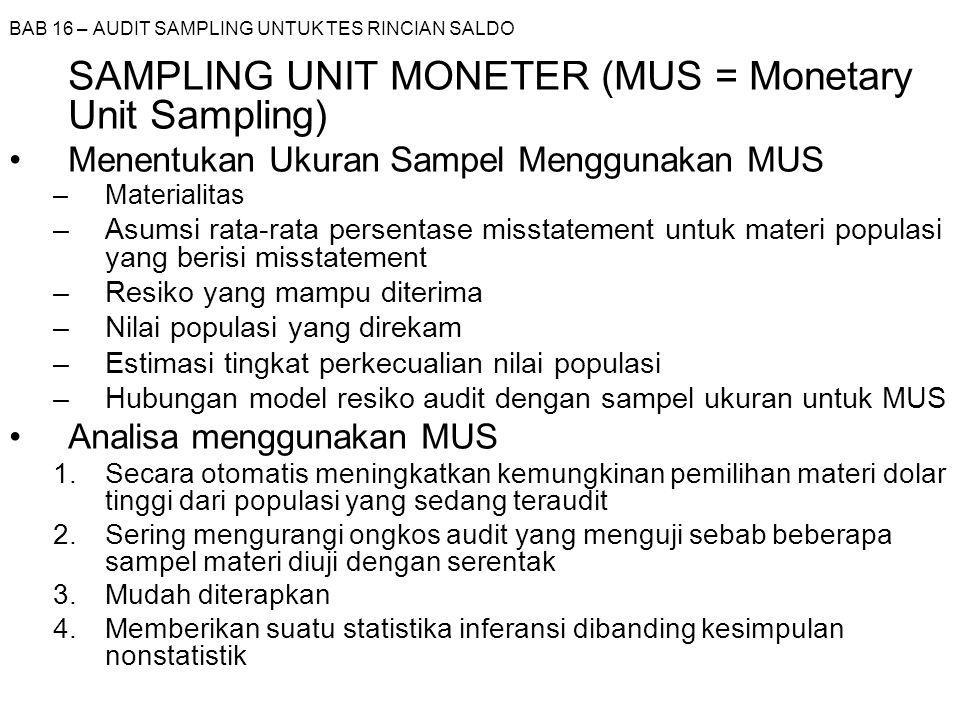 BAB 16 – AUDIT SAMPLING UNTUK TES RINCIAN SALDO SAMPLING UNIT MONETER (MUS = Monetary Unit Sampling) Menentukan Ukuran Sampel Menggunakan MUS –Materia