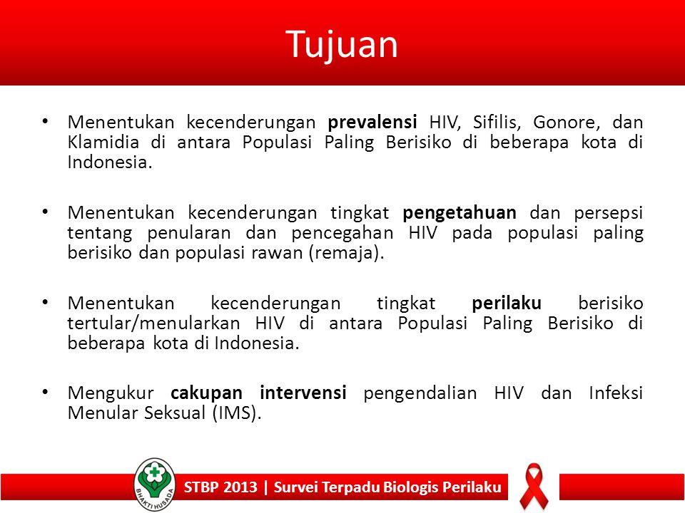 Jenis Survei STBP 2013 STBP 2013 | Survei Terpadu Biologis Perilaku 1.Survei Surveilans Perilaku (SSP): Wawancara perilaku 2.Survei Terpadu HIV dan Perilaku (STHP): Wawancara perilaku + pengambilan darah vena/ perifer 3.Survei Terpadu Biologis dan Perilaku (STBP): Wawancara perilaku + pengambilan darah vena/perifer + pemeriksaan urine dan atau apusan vagina atau anus.
