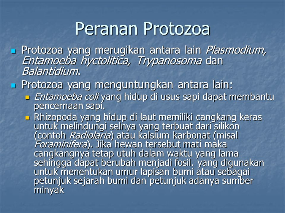 Peranan Protozoa Protozoa yang merugikan antara lain Plasmodium, Entamoeba hyctolitica, Trypanosoma dan Balantidium. Protozoa yang merugikan antara la