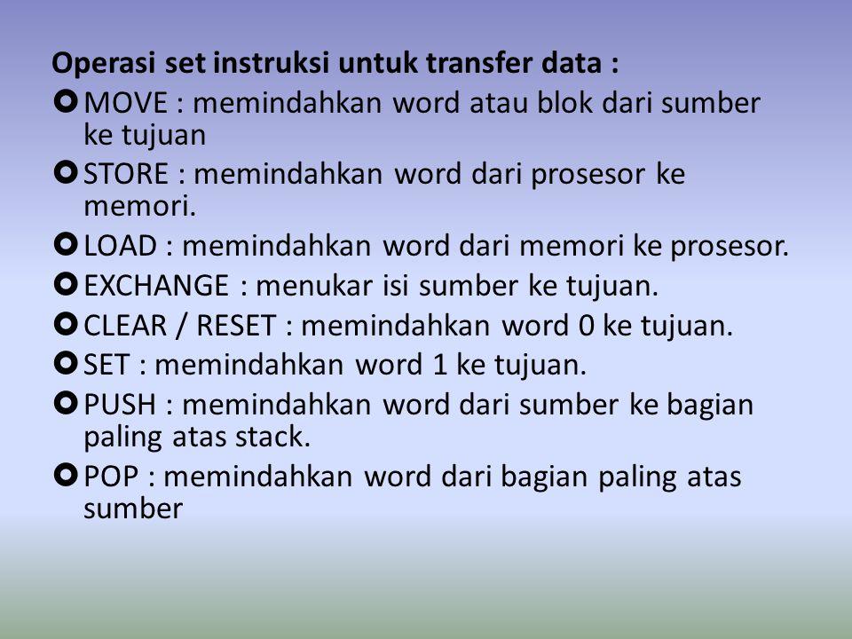 Operasi set instruksi untuk transfer data :  MOVE : memindahkan word atau blok dari sumber ke tujuan  STORE : memindahkan word dari prosesor ke memori.