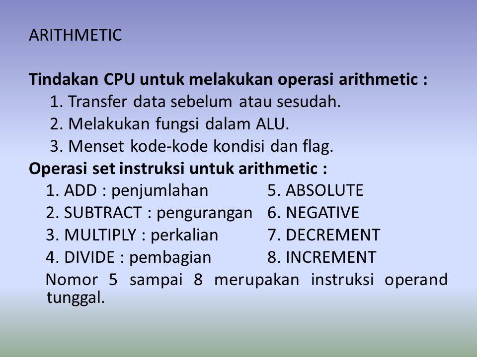 ARITHMETIC Tindakan CPU untuk melakukan operasi arithmetic : 1.