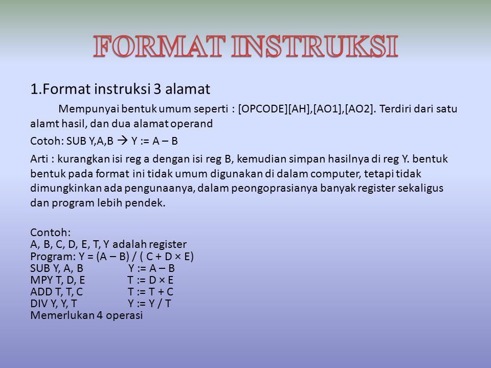 1.Format instruksi 3 alamat Mempunyai bentuk umum seperti : [OPCODE][AH],[AO1],[AO2].
