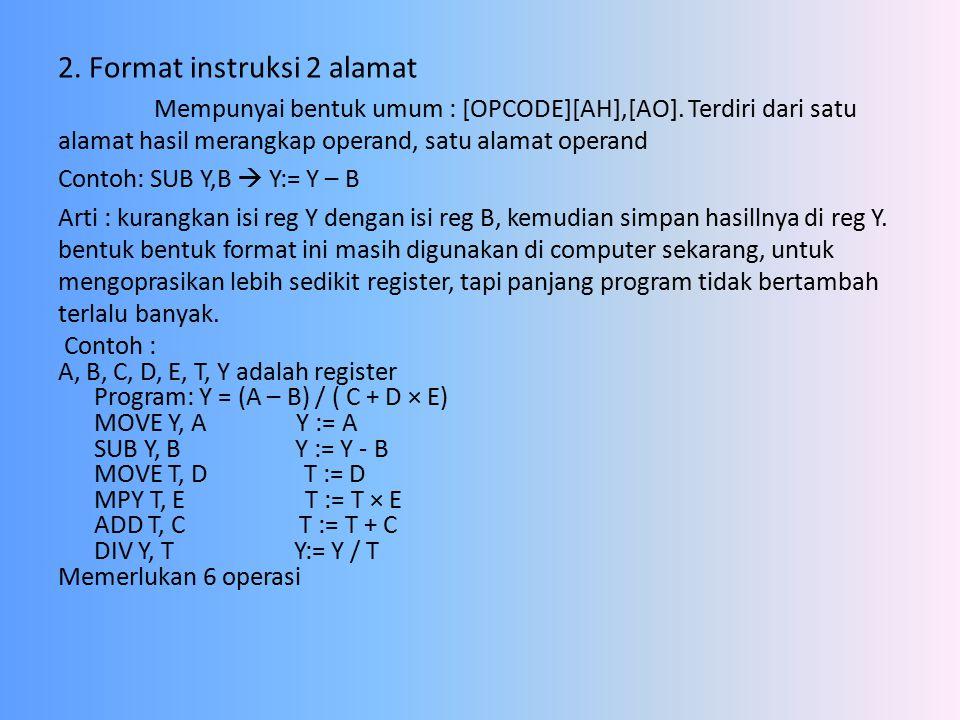 2.Format instruksi 2 alamat Mempunyai bentuk umum : [OPCODE][AH],[AO].