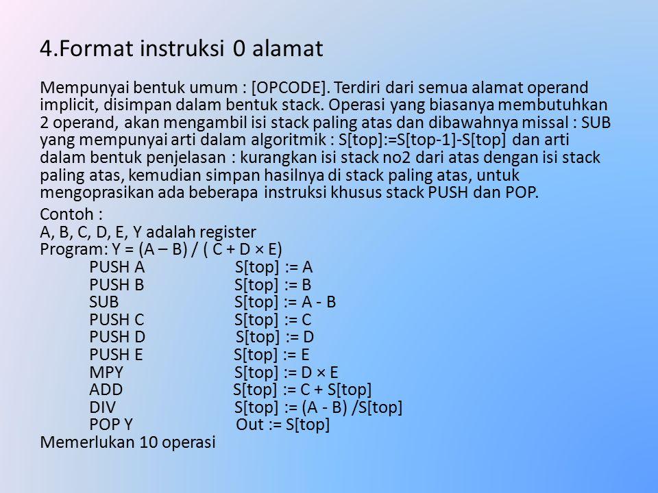 4.Format instruksi 0 alamat Mempunyai bentuk umum : [OPCODE].
