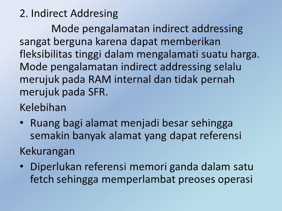 2. Indirect Addresing Mode pengalamatan indirect addressing sangat berguna karena dapat memberikan fleksibilitas tinggi dalam mengalamati suatu harga.