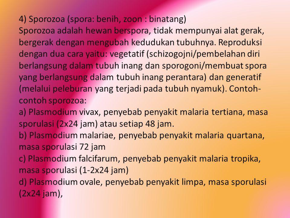 4) Sporozoa (spora: benih, zoon : binatang) Sporozoa adalah hewan berspora, tidak mempunyai alat gerak, bergerak dengan mengubah kedudukan tubuhnya. R