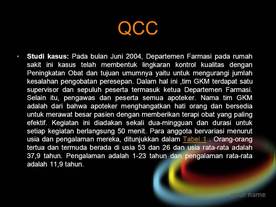 your name QCC Studi kasus: Pada bulan Juni 2004, Departemen Farmasi pada rumah sakit ini kasus telah membentuk lingkaran kontrol kualitas dengan Penin