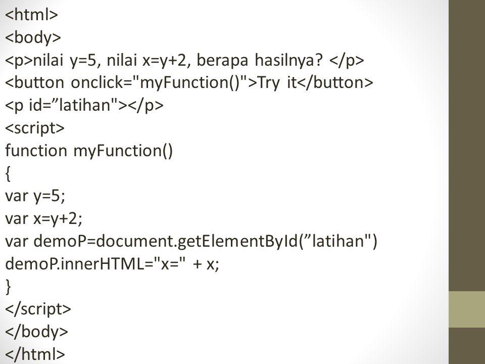 """nilai y=5, nilai x=y+2, berapa hasilnya? Try it function myFunction() { var y=5; var x=y+2; var demoP=document.getElementById(""""latihan"""
