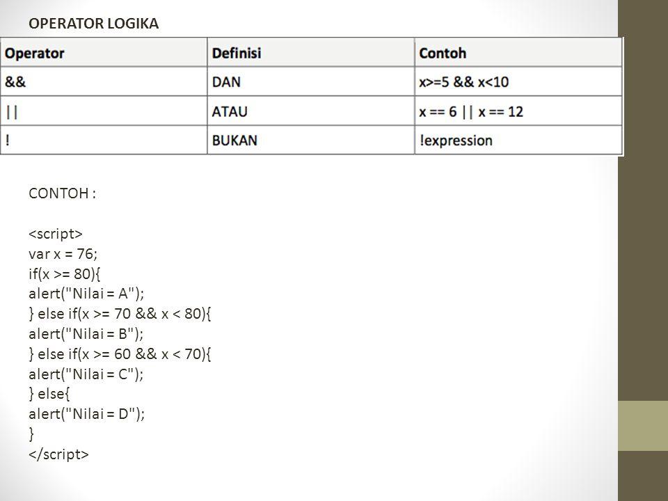OPERATOR LOGIKA CONTOH : var x = 76; if(x >= 80){ alert(
