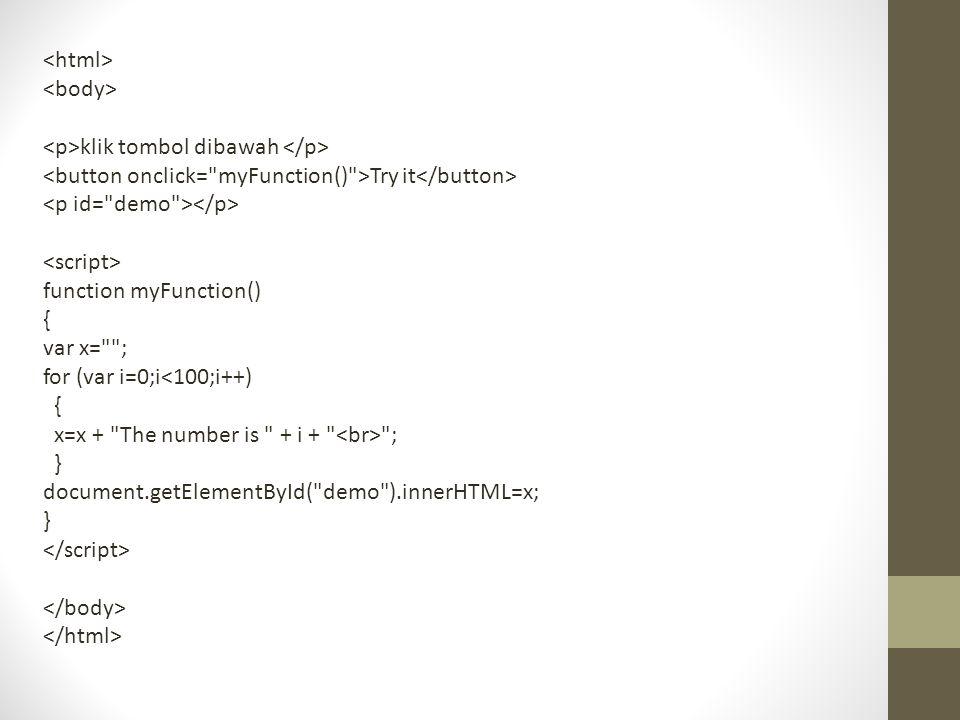 klik tombol dibawah Try it function myFunction() { var x=
