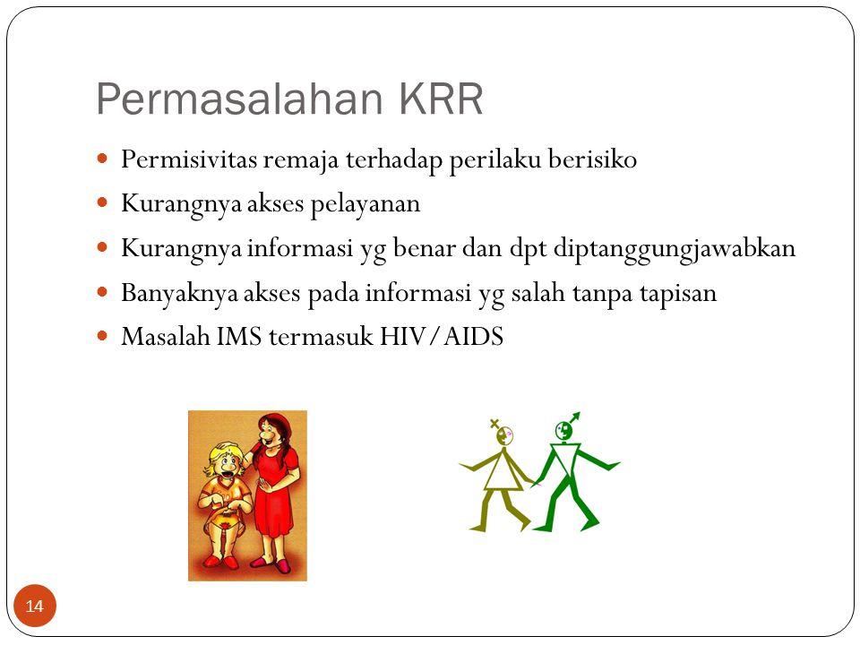 Permasalahan KRR Permisivitas remaja terhadap perilaku berisiko Kurangnya akses pelayanan Kurangnya informasi yg benar dan dpt diptanggungjawabkan Ban