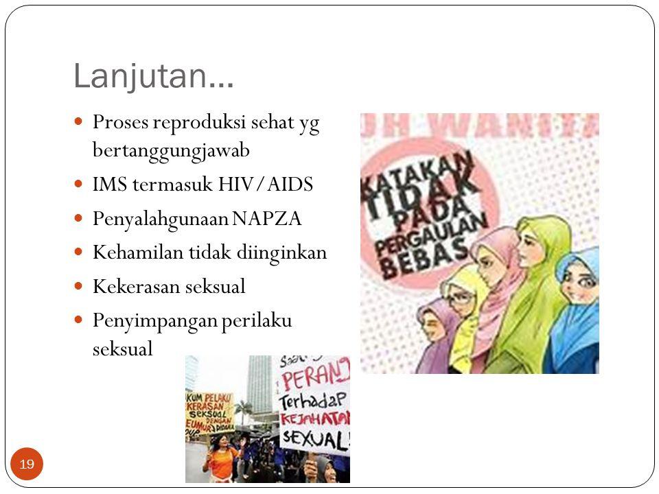 Lanjutan… Proses reproduksi sehat yg bertanggungjawab IMS termasuk HIV/AIDS Penyalahgunaan NAPZA Kehamilan tidak diinginkan Kekerasan seksual Penyimpa